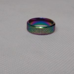 Multi-colored stainless steel ring size 7